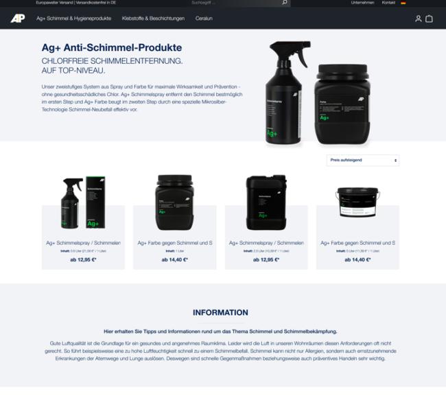 Referenzen Screenshot Adhesive Products GmbH
